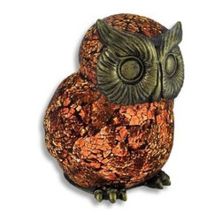 Amber Crackle Glass Owl Accent Lamp - This crackle glass owl lamp adds a lovely accent to your home while casting a warm glow from wherever it is placed. When the lamp is off, it is brown, when it is on, it looks dark amber and red in color and it is sure to be admired. The face and feet of the owl are made of a cold cast resin with an antique bronze finish, and the body is made up of dozens of pieces of glass. It measures 7 1/2 inches tall, 6 inches wide, 6 1/4 inches deep and has a 6 foot black power cord with a toggle on/off switch. Foam pads on the bottom of the lamp prevent it from scratching your furniture, and a 7 watt Type T bulb is included. It makes a thoughtful gift for teachers, students, or any wise person in your life.