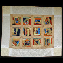 me - quilts silk - 100% silk quilt made of antique recycled kimonos and silk.  Extensive quilting in the borders.  Commissions available from the artist.