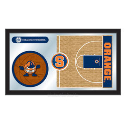"Holland Bar Stool - Holland Bar Stool Syracuse Basketball Mirror - Syracuse Basketball Mirror belongs to College Collection by Holland Bar Stool The perfect way to show your school pride, our basketball Mirror displays your school's symbols with a style that fits any setting.  With it's simple but elegant design, colors burst through the 1/8"" thick glass and are highlighted by the mirrored accents.  Framed with a black, 1 1/4 wrapped wood frame with saw tooth hangers, this 15""(H) x 26""(W) mirror is ideal for your office, garage, or any room of the house.  Whether purchasing as a gift for a recent grad, sports superfan, or for yourself, you can take satisfaction knowing you're buying a mirror that is proudly Made in the USA by Holland Bar Stool Company, Holland, MI.   Mirror (1)"