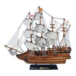 "Handcrafted Nautical Decor - Spanish Galleon 20"" - Wooden Model Boat - Sold fully assembled"
