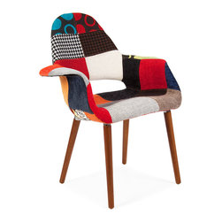 Vertigo Interiors USA - Eames Style Organic Lounge Dining Chair, Special Patchwork Upholstery - The Eames Style Organic Lounge Dining Chair is a perfect blend of comfort and style.  The chair has soft cushioning covered in woven wool with a beech wood dowel base.