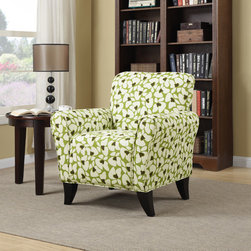 PORTFOLIO - Portfolio Seth Green Modern Floral Curved Back Arm Chair - The Portfolio Seth arm chair features a transitional design with flared arms and a shaped back. The Seth chair is covered in an apple green and cream mosaic modern floral fabric.