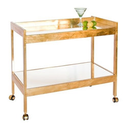 "Worlds Away - Worlds Away Roland Gold Leaf Bar Cart - Recalling an era of unplugged home entertainment, the Roland bar cart delivers high fashion and function. Mirrored in signature Worlds Away style, the cart is set on casters for easy mobility. 37""W x 22""D x 28""H; Gold leaf finish; 2 mirror shelves"