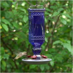 Perky Pet Cobalt Blue Antique Bottle Hummingbird Feeder - If you're like us, then you have a soft spot for animals and you enjoy spoiling them – which is just what we did when we got our backyard birdies this Perky Pet Cobalt Blue Antique Bottle Hummingbird Feeder. It's like a gorgeous ornate breakfast cove tucked away in the mountains. Only this one is hanging in your backyard for you and flittering feathered foul to enjoy. This vibrant blue antique bottle with a brushed silver base is a hardened glass nectar reservoir like none other. Its unique square shape holds 16 ounces of sweet nectar that is accessed through four decorative flower feeding ports. The base easily comes apart and reassembles for easy cleaning.About Woodstream Corp With more than 150 years of experience, Woodstream Corp is privately-held company and a leading manufacturer of quality-branded products for pets and wildlife, natural solutions for lawns and gardens, wild bird feeding products, and outdoor living decor. Woodstream's growth has been fueled by a consumer-driven approach to product development, focusing on innovation, quality, safety, and a commitment to an industry-leading level of service to retailers and consumers. For example, a key focus for Woodstream Corp. has been to add organic and/or environmentally friendly products. It has taken a pro-active approach to preserve our environment and wild animals. About Birdfeeders.com Whether you're an experienced hobbyist or an amateur bird watcher, there is a feeder to fit your style at Birdfeeders.com, where you will find a substantial selection of quality bird feeding products at competitive prices. If you love watching birds in your backyard and want to attract more, visit Birdfeeders.com for helpful bird watching and bird feeding advice. You can access the company's popular bird library for additional information about specific birds, and then browse its collection of quality bird feeders, feeder accessories, bird baths, and bird houses.