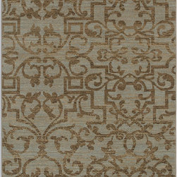 "Karastan - Karastan Sierra Mar 35505-33016 (French Quarter Bluestone) 8'6"" x 11'6"" Rug - Comfortable, weathered, easy to live with color, is the signature style of the Sierra Mar collection, with relaxed patterns that complement both traditional and modern design. Woven in the U.S.A., the pure New Zealand worsted wool yarns have been specially twisted and space-dyed to create artful color 'stria' reminiscent of fine hand woven 'Peshawar' rugs."