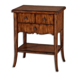 Uttermost - Uttermost 24140 Carmel Wood End Table - Casual styling in warm, old barn finish with three dovetail drawers, pewter finished knobs,-Light Bath Lighting distressed primavera veneer.