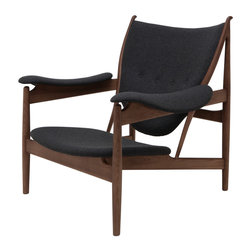 Nuevo Living - Grande Medium Grey Wool Lounge Chair in American Ash with Walnut Stain by Nuevo - The Grande Lounge Chair in American Ash with Walnut Stain and Medium Grey wool features a solid wood frame and 100% leather.