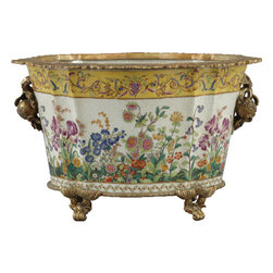 Oriental Danny - Porcelain Basin with Bronze Ormolu - A grand planter for your herb garden, this porcelain basin  also features a delicate floral motif in lively colors. The elegant ormolu feet and handles add a touch of old-world charm to your decor.