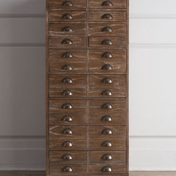 "Ambella - Ambella ""Antioch"" Chest - With its dark-driftwood finish, this tall storage chest inspired by 19th-century apothecary chests brings a vintage vibe to home storage. Handcrafted of mindi wood with mindi veneers. Eight small drawers and five large drawers. 24""W x 16""D x 55.5""T....."