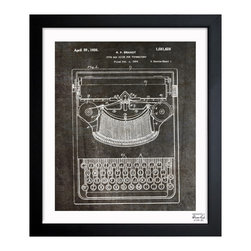"The Oliver Gal Artist Co. - ""Brandt Type Bak Guide for Typewriters 1926"" Framed Art, 10"" x 12"" - Exclusive blueprints inspired by real vintage patent drawings & illustrations. Handcrafted in the Oliver Gal Artist Co. Studios in Miami, Florida. Produced on matte proofing paper and hand framed by professional framers in a 1.2"" premium black wood frame. Perfect for any interior design project, gifts, office décor, or to add special value to one of your favorite collections."