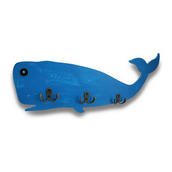 Zeckos - Distressed Finish Wooden Blue Whale Wall Hook Nautical Decor 22 in. - A Blue whale, hooks and a tail, oh my This fun blue whale shaped wall hook will add a nautical touch to your room and is perfect for a beach, surf or natural themed home that will also add functional character to your walls. Hand-Painted in a wonderfully distressed finish, it features three 2-prong wall hooks giving you plenty of hanging options, and is great for keys, leashes, coats, jackets and towels. This wall hook is a great addition to bathrooms, allowing you more space for storing towels, hair dryers and robes without really taking up any much-need space, or hang it lower on the wall in a child's room so they can easily hang their coats, jackets and pajamas. It would be fun on the walls of a pool area or changing room, and is made from pressed wood with metal hooks. It easily hangs on the wall using just 2 nails or screws via the attached hangers on the back and is 22 3/8 inches long (57 cm), 9 inches high (23 cm), and 1 1/4 inches deep (3 cm). This whale is certain to hook his way into your heart, and your home