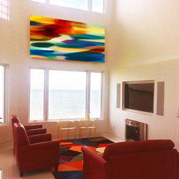 "Fury Abstract Art Seascape with Ocean View - Fury Seascape was painted for a client in Tampa Bay Florida. They needed  a large seascape, 48"" x 96"" un stretched canvas, to fill their amazing space  between two bay windows over looking the ocean. The colorful abstract forms represent the sea during a storm. The photograph was taken by the client who was thrilled with the end result."