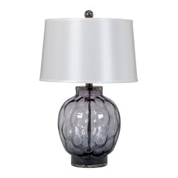 "Signature Design by Ashley - 27"" Rosabella Set of 2 3-Way Table Lamps Art - Famous Brand Lamps presents the Set of 2 1-Light Rosabella Table Lamps, featured in gray and purple tones art glass and complemented by a silver Shade, creating a harmonious and captivating ambience in the home"