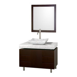 "Wyndham Collection - Wyndham Collection 36"" Malibu Single Sink Vanity w/ White Carrera Marble Top - The Malibu 36"" Bathroom Vanity is a featured item from the Wyndham Collection Designer Series by Christopher Grubb. The beautiful floating counter and clean lines of this vanity are quite stunning, with the legs appearing to pierce right through the cabinet to the floor, yet it's surprisingly affordable. Each counter is custom made to order."