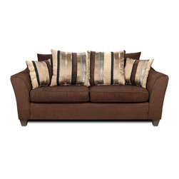 Chelsea Home Furniture - Chelsea Home Lizzy Sofa in Romance Brown/Kendu Onyx - Lizzy sofa in romance brown/kendu onyx belongs to Liberty collection by Chelsea Home Furniture
