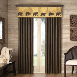 E & E Co., Ltd. - Cedar Ridge Bear Lodge Window Panel - As weathered as warm memories, this distressed faux leather window panel will bring a cozy and rustic lodge look to your window.