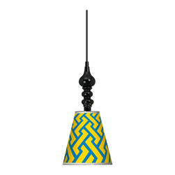 "Giclee Gallery - Yellow Brick Weave Giclee 7 1/2"" Wide Black Mini Pendant - Bold hues of blue and citrus yellow in a geometric pattern add elegance to this contemporary mini-pendant light featuring a black sculpted canopy mount and a printed giclee shade. This mini pendant design is a balance of curves and geometric simplicity. It features a metal shade wrapped with an exclusive giclee printed pattern. The interior of the shade is painted white helping to reflect the light. A black finish round metal canopy completes the look. Includes a black 15 foot cord allowing you to adjust the hang height. U.S. Patent # 7,347,593."