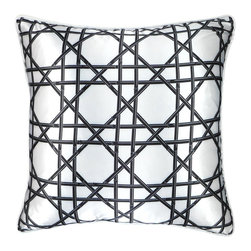"NECTARmodern - Bamboo Cane (black) wicker weave throw pillow 20"" x 12"" - Black bamboo canes in a wicker weave pattern enlivens any chair, sofa, or bed. White rolled piping around the edge. Solid back. Designer quality cover with overstuffed feather/down insert."