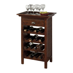 Jofran - Jofran 730-12 Wine Rack with Removable Tray Top in Rough Hewn - Show off your wine collection and your savvy space-saving style with the perfect function and sophistication highlighted in this lovely wine rack. The piece features clean lines with panel molding, a subtle detail that elevates the rack's appearance. Four shelves are carved and curved, designed to hold and display four bottles each. One drawer allows you to store and conceal items like coasters and corkscrews, while a removable tray top makes serving a cinch. Warm and welcoming in a rustic Urban Lodge Brown color, this beautiful wine rack sits at the pinnacle of style and function.
