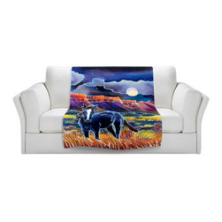 DiaNoche Designs - Fleece Throw Blanket by Harriet Peck Taylor - Mustang Moonlight - Original Artwork printed to an ultra soft fleece Blanket for a unique look and feel of your living room couch or bedroom space.  DiaNoche Designs uses images from artists all over the world to create Illuminated art, Canvas Art, Sheets, Pillows, Duvets, Blankets and many other items that you can print to.  Every purchase supports an artist!