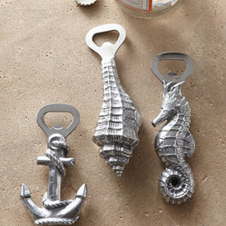 "Arthur Court - Arthur Court Ocean-Inspired Bottle Openers - Ocean-themed bottle openers add fun, coastal elan to beverage service. And they make ideal hostess gifts as well. Select style when ordering. Made of aluminum and stainless steel. Hand wash with warm water. Sold individually; each, approximately 2""W..."