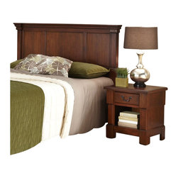 Home Styles - Home Styles Aspen 3 Piece Headboard Set in Rustic Cherry-Queen - Full - Home Styles - Headboards - 55205018 - Create ambiance with a perfect balance of warmth and style with The Aspen Collection Headboard, Media Chest, and Night Stand by Home Styles.