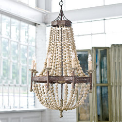 """Frontgate - Scalloped Wood Bead Chandelier - Made of metal and wood. Uses eight 40-watt candelabra bulbs. Chain measures 42"""". Includes ceiling canopy. Direct wire, UL dry listed. Add a touch of rustic beauty to any room with our Scalloped Wood Bead Chandelier. Strands of wooden beads give shape to this chandelier, draping gracefully and contrasting nicely with the dark finish of the metal.  .  .  .  .  ."""