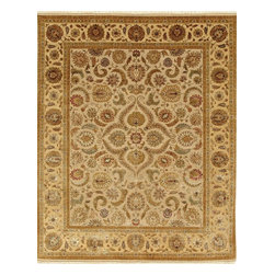 Jaipur Rugs - Hand-Knotted Oriental Pattern Wool/ Silk Ivory/Yellow Area  Rug, Ivory/Yellow, 2 - Few artisans possess the expertise and skill necessary to create pieces for the Aurora collection. Every fiber of wool is scrutinized, sorted, carded, and spun to ensure the absolute finest and softest thread. Lush silk is added to create an undeniably beautiful and painstakingly precise work of hand-crafted art. The softness, brilliance and exquisite refinement in every aspect of the Aurora collection cannot be overstated: with sixty percent silk content and nearly two hundred knots per square inch, each rug shimmers like a finely cut diamond. Months of meticulous work touched by the hands of hundreds of skilled artisans, culminate in the finest floor coverings that Jaipur offers.