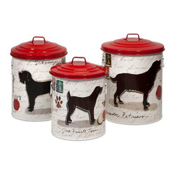 Imax - Modern Set of 3 Dog Food Storage Canisters with Red lids Home Decor - Keep your dog treats fresh with these trendy dog food storage containers. Color is Red. Material is 100% Iron Sheet.