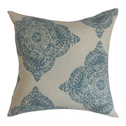 """The Pillow Collection - Daganya Damask Pillow Aqua 18"""" x 18"""" - Upgrade the look and feel of your room and turn into a relaxing place with this throw pillow. This cushy accent pillow makes your bed, sofa or couch more relaxing. This decor pillow is adorned with a damask pattern in an aqua blue hue and set against a neutral background. This 18"""" pillow provides an elegant twist to your interiors. Made from 100% soft cotton fabric. Hidden zipper closure for easy cover removal.  Knife edge finish on all four sides.  Reversible pillow with the same fabric on the back side.  Spot cleaning suggested."""