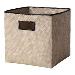 Serena & Lily - Pandan Bin  Natural - Tailored storage with a tropical twist, these textural bins are made of sturdy, handwoven palm fronds with a stitched Black trim.