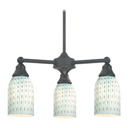 Design Classics Lighting - Mini-Chandelier with Blue Glass in Matte Black Finish - 598-07 GL1003D - Transitional matte black 3-light chandelier. Takes (3) 100-watt incandescent A19 bulb(s). Bulb(s) sold separately. UL listed. Dry location rated.