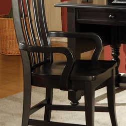 Steve Silver Co. - Bella Arm Chair in Multi-Step Black Finish - Comfortable and stylish desk chair. Multi-step Black finish. Corner block construction. Tongue and groove joints. Select hardwood solids material. Some assembly required. Seat Height: 24 in.. 23 in. L x 24 in. W x 39 in. H (34 lbs.)
