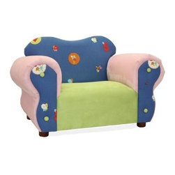 "Fantasy Furniture Comfy Kids Chair - Flowers - Fun and whimsical, the Fantasy Furniture Comfy Kids Chair - Flowers is a beautiful addition to any room in your home. Expertly crafted, this chair features a handmade, sturdy, and durable wooden frame covered in high density flame retardant foam for added comfort. Its pink and blue durable twill covering is soft and comfortable while the wooden feet gives this chair touch of sophistication. """"Flowers, butterflies, and numbers are featured on the back and sides for an added girlie flair. Designed for children ages two to five, your daughter will not only love having a chair to call her own, but also one that was made with her in mind. Additional Features Frame covered with high density flame retardant foam Foam covering is extremely comfortable Floral them embroidered on the back and sides Wooden legs add a sophisticated touch Holds up to 100 pounds Made for children ages 2-5"