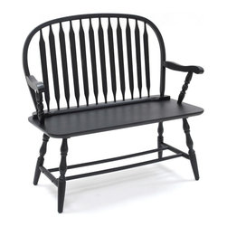 Carolina Cottage - Windsor Bench in Antique Black Finish - Beautiful 3 step hand finish with rubbed edges for a worn unique look. Minimal assembly required. Seat dimensions: 40 in. L x 15.5 in. W x 18.5 in. H. Total: 42.25 in. L x 15.5 in. W x 40 in. H (32 lbs.)This classically designed Windsor Bench is ideal for a decorative accent, or functional piece of furniture.