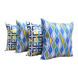 Land of Pillows - Baja Overlap Marine and Make Wave Outdoor Decorative Throw Pillow - Set of 4, 16 - Fabric Designer - Robert Allen