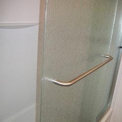 "Bathroom Remodel, Medina, OH  #1 - Cardinal Traditional Euro Tub enclosure, semi-frameless sliding shower door in ""Rain"" glass."