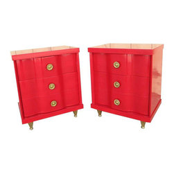 1960s Side Tables With Brass Legs - A Pair - Dimensions 22.0ʺW × 16.0ʺD × 26.0ʺH