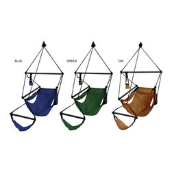 None - Deluxe Aluminum Hammock Chair - Spend a relaxing evening outdoors enjoying your favorite drink with this comfortable hammock chair with cup holder. The pillow provides additional comfort when taking a nap, and the aluminum frame provides sturdy support as you hang out.