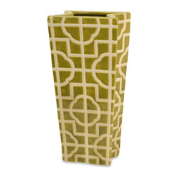 iMax - iMax Square Lattice Tall Container X-13253 - Uniquely shaped vase finished with an all-over design that mimics open lattice work