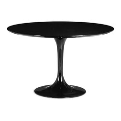 ZUO MODERN - Wilco Dining Table Black - The Wilco table echoes some of the great Mid-century design with its tulip base and bevel edge round top. Its top is glossy painted MDF and its base is glossy coated fiberglass.
