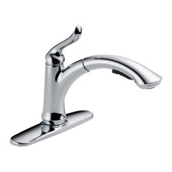 Delta - Linden Single Handle Pull-Out Kitchen Faucet with Diamond Seal Technology - Delta 4353-DST Linden Single Handle Pull-Out Kitchen Faucet with Diamond Seal Technology in Chrome.