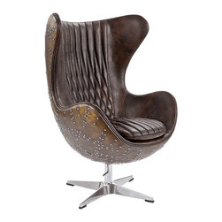 """Regina Andrew - Regina Andrew Java Leather & Brass Egg Chair - Regina Andrew's Egg chair epitomizes the glam, mid-century modern vibe. A uniquely-shaped seat and criss cross upholstery pair with edgy studded accents for a look that impresses and invites. 29""""W x 32.5""""D x 45""""H; Java brown leather and brass; Upholstered"""
