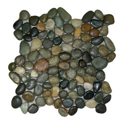 Pebble Tile Shop - Glazed Bali Ocean Pebble Tile - Choose these beautiful beach baubles for an extraordinary floor, backsplash or other tiled surface. Each pebble is hand sorted for color and size, then given a wave-washed glaze.