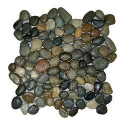 CNK Tile - Glazed Bali Ocean Pebble Tile - Choose these beautiful beach baubles for an extraordinary floor, backsplash or other tiled surface. Each pebble is hand sorted for color and size, then given a wave-washed glaze.