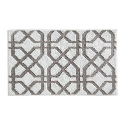 InterDesign - White & Stone Trellis Bath Rug - Featuring a striking design, this fashionable and functional rug absorbs water quickly and features a no-slip construction for added safety.   34'' W x 21'' H 100% microfiber polyester Machine wash Imported