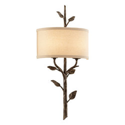 "Troy Lighting - Troy Lighting B3182 Almont 2 Light Flush Mount Wall Sconce with Fabric Shade - Troy Lighting B3182 Almont 2 Light 26"" High Wall SconceThis whimsical wall sconce from the Almont Collection has an arboreal hand-forged iron support stem.Troy Lighting B3182 Features:"