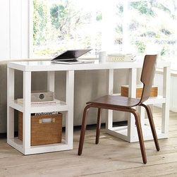 2 x 2 Console Desk - Airy and open, with an expansive top and four generously sized compartments for books, objects or west elm modern-weave storage pieces.