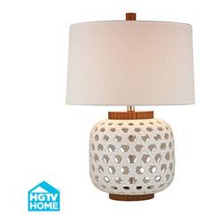 Dimond Lighting - 1-Light Table Lamp in White, Wood Tone - Dimond Lighting HGTV346 1-Light Table Lamp in White, Wood Tone
