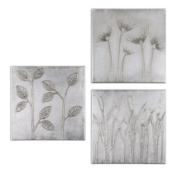 Uttermost - Sterling Trio Canvas Art Set of 3 - Hand Painted Artwork On Canvas Is Stretched And Mounted To Wooden Stretching Boards. A Glossy Finish Is Added For Extra Definition. Due To The Handcrafted Nature Of This Artwork, Each Piece May Have Subtle Differences.